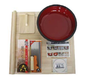 送料無料 家庭用 麺打ちセットA A-1230 のし板・めん棒・こね鉢・めん切庖丁・コマ板・入門DVD (6-0361-1201)
