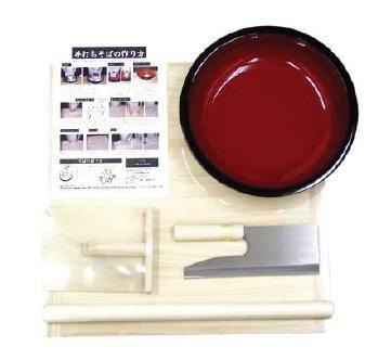 家庭用 麺打ちセットB A-1280 のし板・めん棒・こね鉢・めん切庖丁・コマ板・手引き資料 (7-0375-1301)