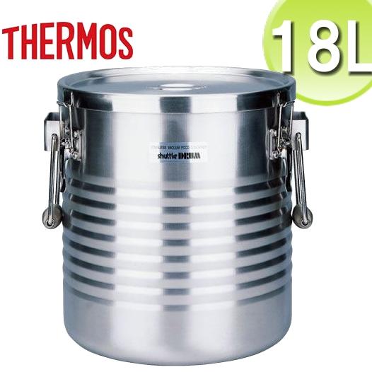 THERMOS/サーモス 高性能保温食缶 シャトルドラム 18L JIK-W18(手付/オールステンレス)18-8真空断熱容器 業務用フードコンテナー 高い保温・保冷性能。大容量タイプ/学校給食・病院などの大量配食に。電気・ガスの加熱保温不要でエコ(7-0185-0407)