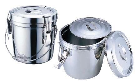 食缶・給食道具 14L 18-8ステンレス製 ダブル汁食缶 (フック付) φ31.5cm (7-0185-0303)