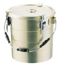 送料無料 食缶・給食道具 14L アルマイト 丸型二重クリップ付食缶 (にぎり3ヶ付・中ふたなし) 240 (295×H290mm) (7-0186-0503)