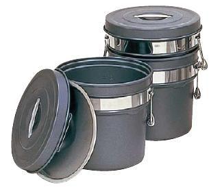 送料無料 食缶・給食道具 6L 段付二重食缶 (内外超硬質ハードコートアルマイト仕上) 245-H (275×H210mm) (7-0186-0101)
