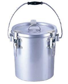 送料無料 食缶・給食道具 4L シルバーアルマイト 丸型二重 クリップ付食缶 (中ふたなし) 237-H (235×H155mm) (6-0184-0801)