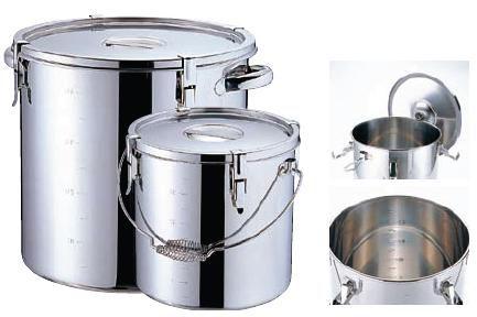 食缶・給食道具 20L Ωモリブデン 目盛付 パッキン寸胴鍋 吊付フック4ヶ付 30cm (7-0183-0302)