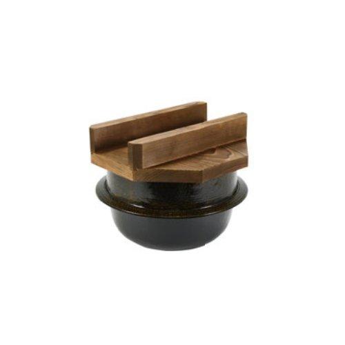 [送料無料!]IH対応 高級陶器の黒アメ釉仕上げ 内面は上部な3コートフッ素加工!アルミ電磁用 2升釜(焼杉蓋付)35371(φ380×H335) 旅館・ホテルのビュッフェ・バイキングコーナーに。(お釜 ご飯釜)(EBM18-1)(962-01)