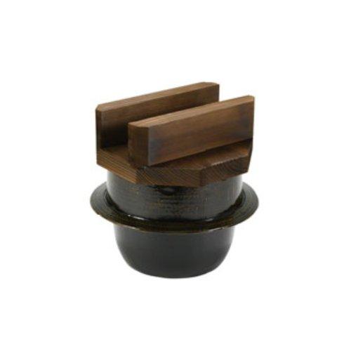 [送料無料!]IH対応 高級陶器の黒アメ釉仕上げ 内面は上部な3コートフッ素加工!アルミ電磁用 1升釜(焼杉蓋付)35288(φ288×H283) 旅館・ホテルのビュッフェ・バイキングコーナーに。(お釜 ご飯釜)(EBM18-1)(962-01)