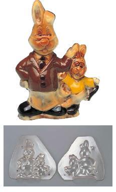 製菓用品・チョコレート型 お菓子作り・道具 フランス デコレリーフ社 チョコレートモルド ラビット EU-764(両面合わせ)(7-0989-0201)