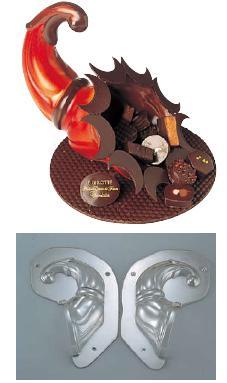製菓用品・チョコレート型 お菓子作り・道具 フランス デコレリーフ社 チョコレートモルドホーン型 EU-735(両面合わせ)(7-0989-0101)