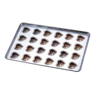 送料無料 製菓用品・プチケーキ・焼菓子型 お菓子作り・道具 シリコン加工 ハート型 天板(プレスタイプ) 24連 (6-0986-1401)