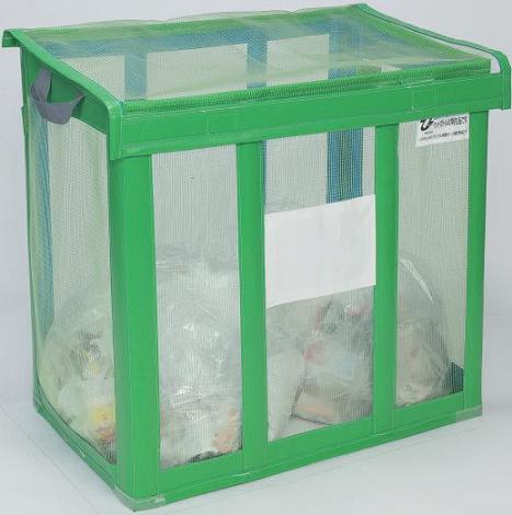 送料無料 資源ゴミ回収用・ゴミ回収ステーション 持ち運び簡単 イベントなどに 自立ゴミ枠 折りたたみ式 緑 430L (テラモト)[DS-261-001-1]