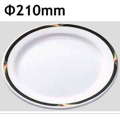 Daiwa|プラスチック食器|メラミン製|業務用食器|社員食堂|学食|飲食店 10個セット/10個以上端数注文可 ミート皿21cm ウェーブ(Φ210×H22mm) (台和)[DY-210-GW]