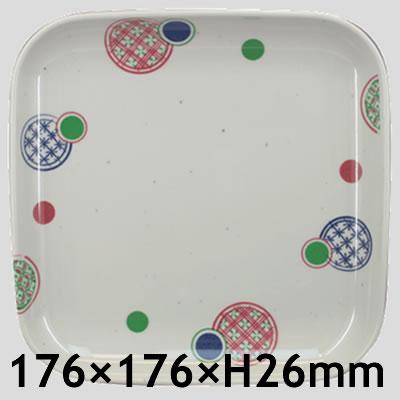 Daiwa|プラスチック食器|メラミン製|業務用食器|社員食堂|学食|飲食店 10個セット/10個以上端数注文可 17cm主菜皿 小手毬(176×176×H26mm) (台和)[KW-17-KT]