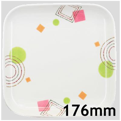Daiwa|プラスチック食器|メラミン製|業務用食器|社員食堂|学食|飲食店 10個セット/10個以上端数注文可 17cm主菜皿 とう花(176×176×H26mm) (台和)[KW-17-TU]