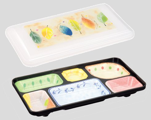 送料無料 Daiwa|弁当箱|宅配容器|業務用|仕出し 10個セット/10個以上端数注文可 旬彩副食容器・大(6つ仕切) 乳白・リーフ (308×170×H52mm) (台和)[SFI-2030-L]
