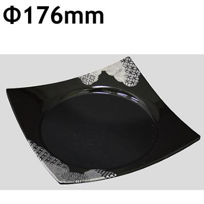 送料無料 Daiwa|プラスチック食器|メラミン製|業務用|食堂|飲食店 10個セット/10個以上端数注文可 ワープスクウェア皿 銀ニシキ(176×176×H34mm) (台和)[SJ-73-GNI]
