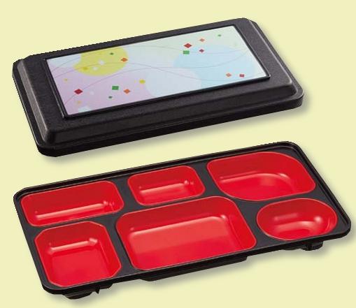 クロ・パステルウインド/黒(308×170×H52mm) (台和)[WFT-2020-P] 送料無料 玉渕副食容器6ツ仕切 10個以上端数注文可 10個セット Daiwa|弁当箱|宅配容器|業務用|仕出し|おかず