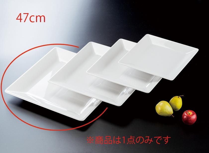 メラミン 47cm隅丸角盛皿 白(475×475×H45mm) 福井クラフト[ML1-41-6]  飲食店・ビュッフェなどに最適 丈夫なプラスチック 業務用メラミン製食器