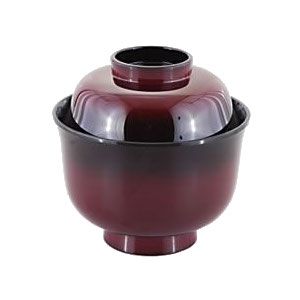 [60個入]特売品 食洗機対応/食器洗浄機対応 汁椀(身・蓋セット)耐熱ABS製 3.2寸えびすかすみ羽反椀 朱ぼかし(ふた付き汁椀)(φ99×96)(310-055-00)