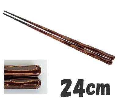 送料無料! 箸 業務用箸 24cm PBT樹脂製 PBT六角一刀彫箸 (10膳入) 栃 24cm (6-1644-0902)