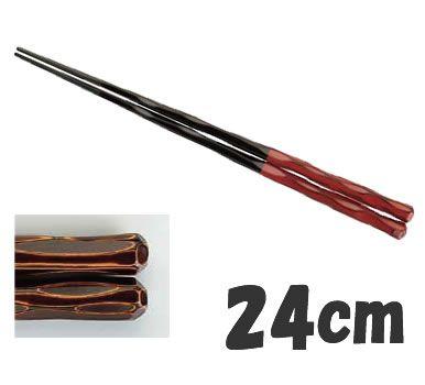 ! 箸 業務用箸 24cm PBT樹脂製 PBT六角一刀彫箸 (10膳入) 根来 24cm (7-1724-1602)