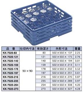 【食器洗浄機用ラック】【プラスチック製】【業務用】マスターラックステムウェアラックブルー(KK-7025-121)【関東プラスチック工業】