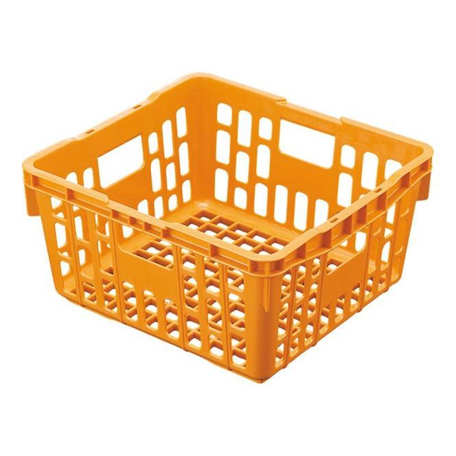 プラスチック PP食器かご (ポリプロピレン製) 消毒保管庫対応 軽量設計 405×375×H205mm オレンジ[PK1OG] マルケイ 業務用 給食用 スタッキング 丈夫 業務用 プラスチック 樹脂 F0