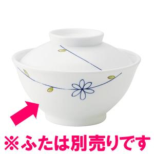 送料無料 新軽量強化磁器製 業務用食器・皿 10個入 飯碗 和らく段付茶碗 身/ラインフラワー(青)(ふた別売り) おかるのキモチ[818DKOD]