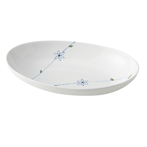 送料無料 新軽量強化磁器製 業務用食器・皿 10個入 カレー皿・小判皿 楕円大鉢 ラインフラワー(青) おかるのキモチ 美濃美人[818MNDO]