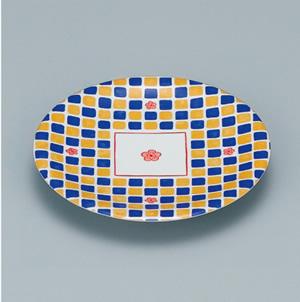 ※受注生産品 100枚セット/メラミン製寿司皿 回転寿司 高台和皿(花市松) スリーライン[505-MH] 食器 寿司用 和皿 取り皿 プラスチック製 業務用