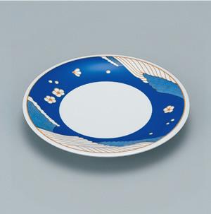 ※受注生産品 100枚セット/メラミン製寿司皿 回転寿司 高台和皿(オーシャンブルー) スリーライン[505-MOB] 食器 寿司用 和皿 取り皿 プラスチック製