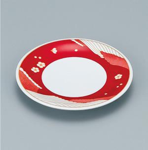 ※受注生産品 100枚セット/メラミン製寿司皿 回転寿司 高台和皿(オーシャンレッド) スリーライン[505-MOR] 食器 寿司用 和皿 取り皿 プラスチック製