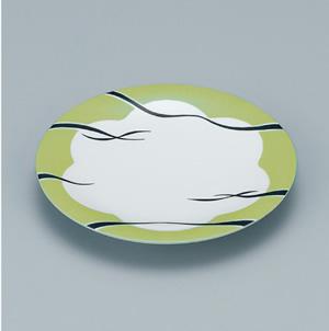 ※受注生産品 100枚セット/メラミン製寿司皿 回転寿司 高台和皿(リップルグリーン) スリーライン[505-MRG] 食器 寿司用 和皿 取り皿 プラスチック製