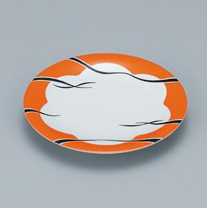 ※受注生産品 100枚セット/メラミン製寿司皿 回転寿司 高台和皿(リップルオレンジ) スリーライン[505-MRO] 食器 寿司用 和皿 取り皿 プラスチック製