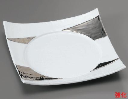 強化セラミック/角皿(正角・長角・変形) 送料無料 10個入 うつわ 白磁プラチナ8.5寸四方皿 26×26×5cm 13206251 [176-3-253]
