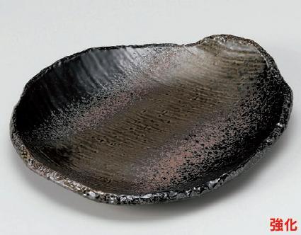 強化セラミック 黒緑彩変形7.0皿 20.8×18×2.7cm うつわ(Vol.15)[240-6-715] 10点セット/10点以上端数注文可