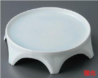 強化セラミック/和皿・前菜皿 送料無料 10個入 うつわ 青磁市松彫6.5寸六つ足高台皿 19.5×5.5cm 17815552 [225-10-553]