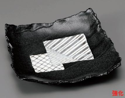 強化セラミック/角皿(正角・長角・変形) 送料無料 10個入 うつわ 黒織部8.0角皿 25.2×24×2.7cm 18203551 [176-8-553]
