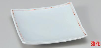 強化セラミック/角皿(正角・長角・変形) 送料無料 10個入 赤ライン正角6.0皿 17×17×2.3cm 18710793 [187-10-793]