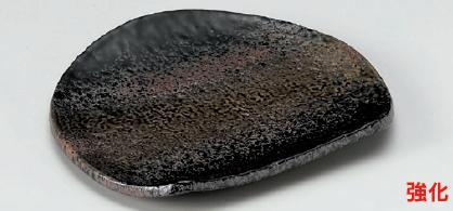 強化セラミック 黒緑彩半月天皿 21.3×18.5×2.5cm うつわ(Vol.15)[285-5-715] 10点セット/10点以上端数注文可