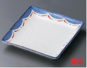 強化セラミック/フルーツ皿・取皿 10個セット/10個以上端数注文可 うつわ 赤絵波重ね5.0正角皿 14.8×14.8×2.5cm 19109711 [284-21-713]