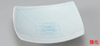 強化セラミック/角皿(正角・長角・変形) 送料無料 10個入 うつわ 青白磁正角6寸高台皿 18.7×5.2cm 21010552 [186-9-553]