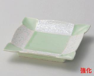 強化セラミック/和皿・前菜皿 送料無料 10個入 うつわ ヒワ釉真珠5.5正角皿 15.4×15.4×2.8cm 21213722 [227-3-723]