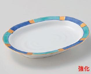 強化セラミック/楕円皿 送料無料 10個入 うつわ 金銀彩菜皿 18×14×2.8cm 25015731 [198-1-733]