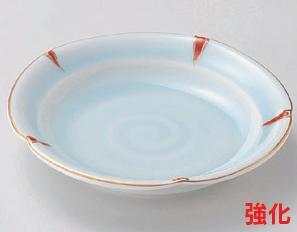 強化セラミック/フルーツ皿・取皿 送料無料 10個セット/10個以上端数注文可 うつわ 赤絵青磁花型フルーツ皿 15×3cm 25406711 [278-4-713]
