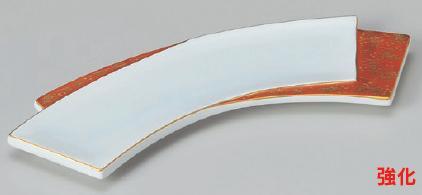 強化セラミック/突出皿 送料無料 10個入 うつわ 二枚扇長皿 26.5×7.5×1.5cm 26605052 [146-2-053]