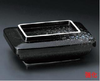強化セラミック/蓋向・煮物碗・円菓子碗 送料無料 10個入 うつわ 黒ゆず長角蓋物 15.7×12.3×6cm 31308712 [310-20-713]