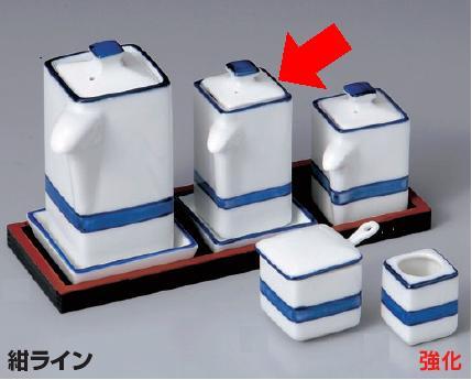 強化セラミック/卓上小物 送料無料 10個セット/10個以上端数注文可 うつわ 紺ライン汁次(大) 4.3×4.3×9.7cm(100cc) 35653711 [364-11-713]