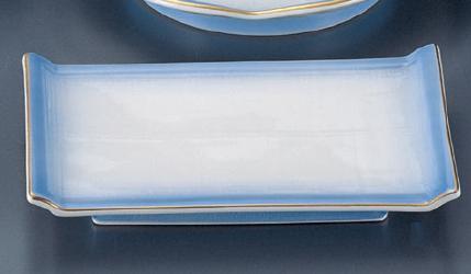【強化セラミック/和食器】【送料無料】【10個セット/10個以上端数注文可】うつわ 渕金コバルト すだれ焼物皿 19.8×13×3cm 52841551 [528-11-553]
