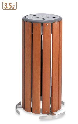 送料無料 施設用品・屋外用灰皿 スモーキングスタンド・吸殻入れ 天然木製 グランドコーナー 木調灰皿M-126 3.5L (テラモト)[SS-273-126-0]