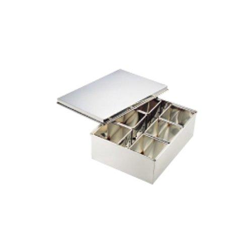 薬味入 保存容器・キッチンポット 仲子の間に氷が入る冷却タイプ! 18-8ステンレス製 冷凍バット(275×360×H115mm)(7-0212-0801)